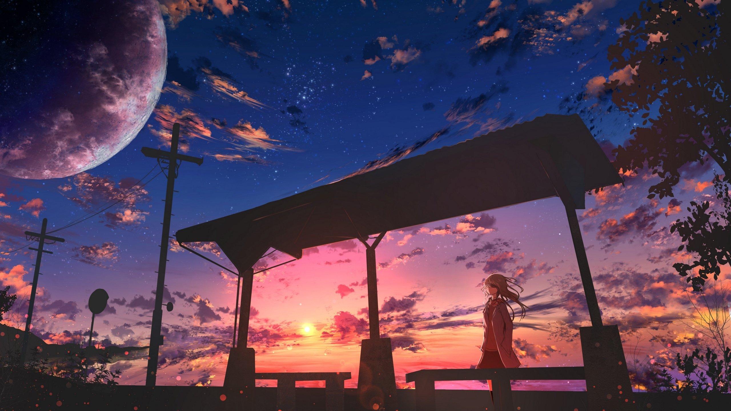 晚霞 夕阳 夜空 车站 风衣 少女动漫壁纸,高清电脑桌面动漫壁纸