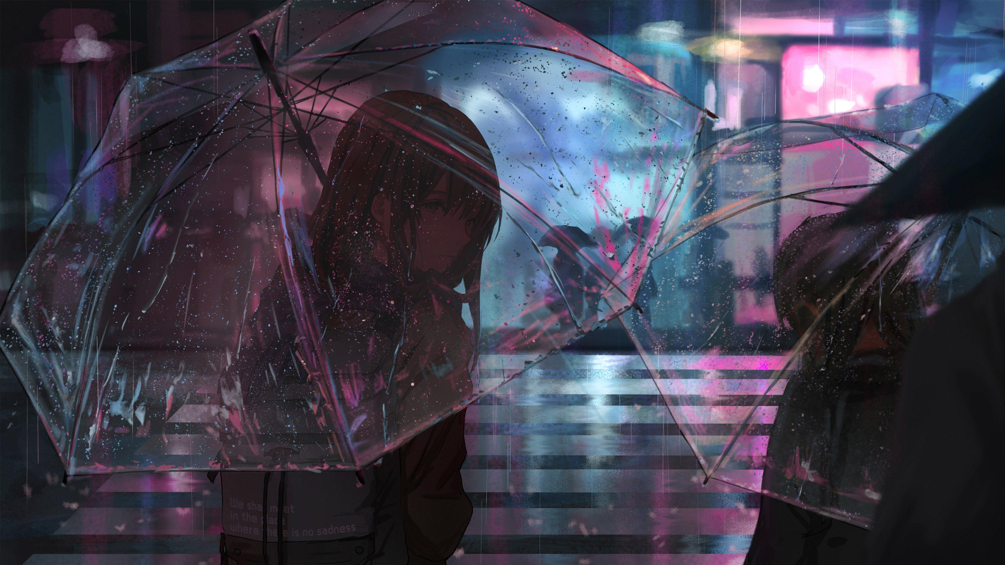 下雨 雨中 撑着透明雨伞的女孩唯美高清动漫壁纸,电脑桌面壁纸