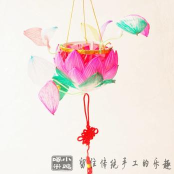 莲花灯; 纯手工传统荷花灯 莲花灯 元宵节中秋节 手提纸灯笼 儿童玩具