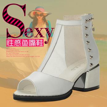 女鞋白色罗马鞋鱼嘴鞋坡跟真皮女高跟鞋凉鞋、淘气包图片