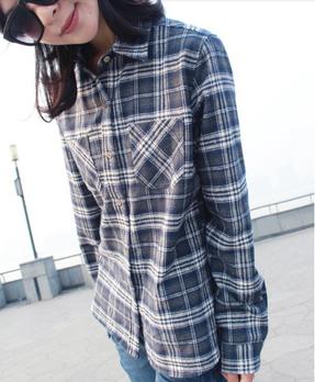 2012新秋冬女款韩版时尚休闲加厚格子百搭衬衫