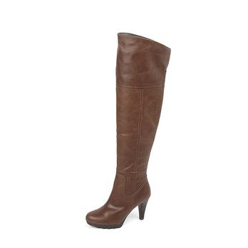 basto百思图2012冬季新款棕色打蜡牛皮女皮靴过膝