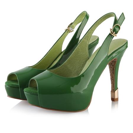 牛皮鱼嘴优雅漆皮防水台高跟鞋(绿色)