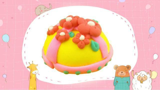 面包超人diy花朵丝带蛋糕 超轻粘土手工制作仿真食玩玩具教程
