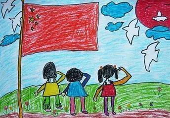 一张几个小学生向国旗敬礼的卡通图片吗 谢谢您