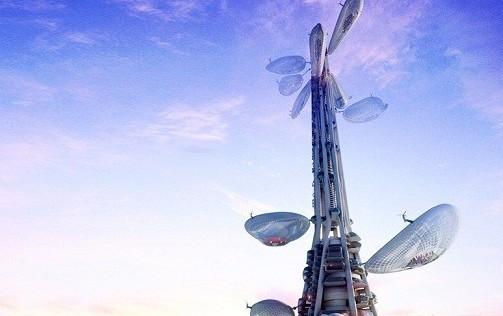 """标志性建筑台湾塔,设计主轴概念为""""漂浮的了望"""",具有地标性和优雅性."""