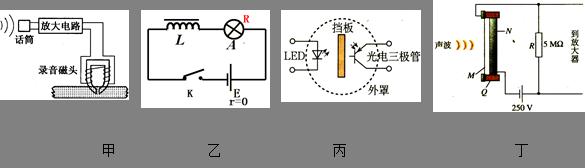 如图,甲是录音机录音电路原理图,乙是研究自感现象实验电路图,丙是