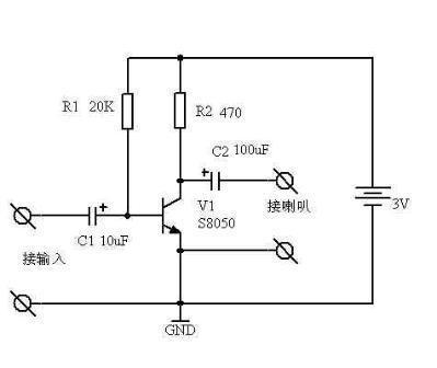 最简单的三极管音频放大电路,我吧c1.