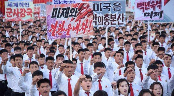朝鲜平壤举行反美集会 十万余人参加