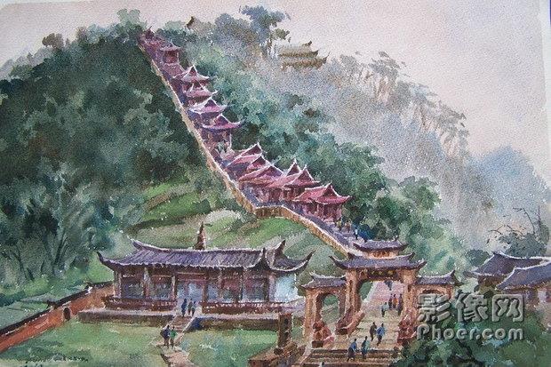 水彩笔画550*400彩笔绘画作品城堡图片大全-王艺霏绘画作品 畅游太空