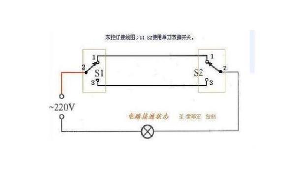 求两个开关控制同一个灯泡的线路图.