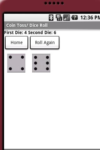 抛硬币/掷骰子的应用程序将模拟一个硬币翻转和/或掷