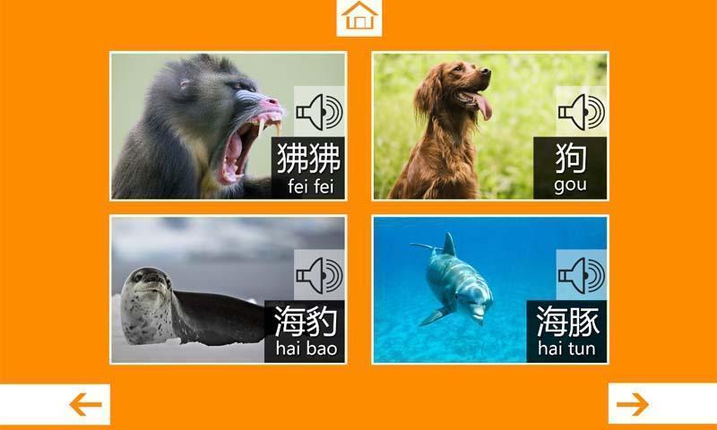 并配有相应的动物名称和拼音