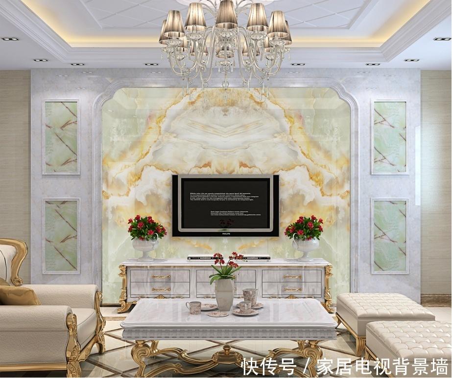 高档青玉石材抽象纹理电视背景墙大理石纹