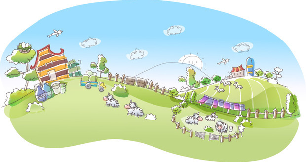 农场的简笔画主要是画出农场的房屋和农场的动物