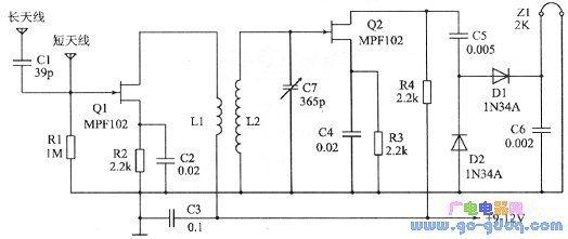 简单二管晶体管收音机电路图在哪里网站能找到?