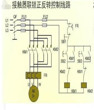 接触器控制单相 电机正反转接线图