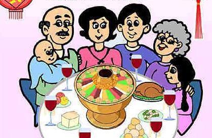爷爷奶奶爸爸妈妈团圆在一起吃年夜饭的图片怎么画