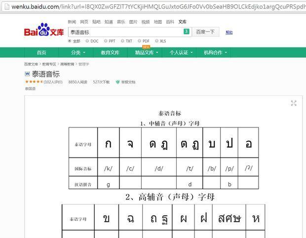 泰语字母音标