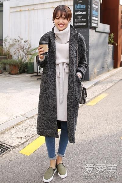 呢子大衣搭配裙装 变身韩剧女主角