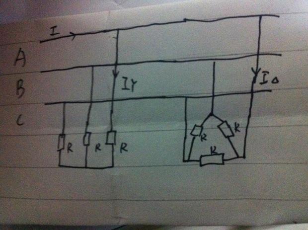 三相电路如图:已知电压ul=380v