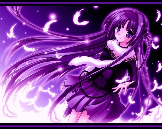 紫发紫瞳动漫少女