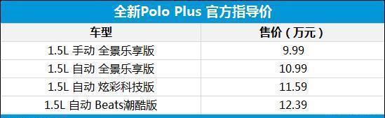 全新一代Polo Plus上市 售9.99