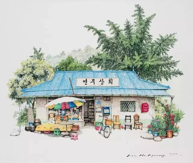 手绘插画|各种杂货店 圆珠笔手绘