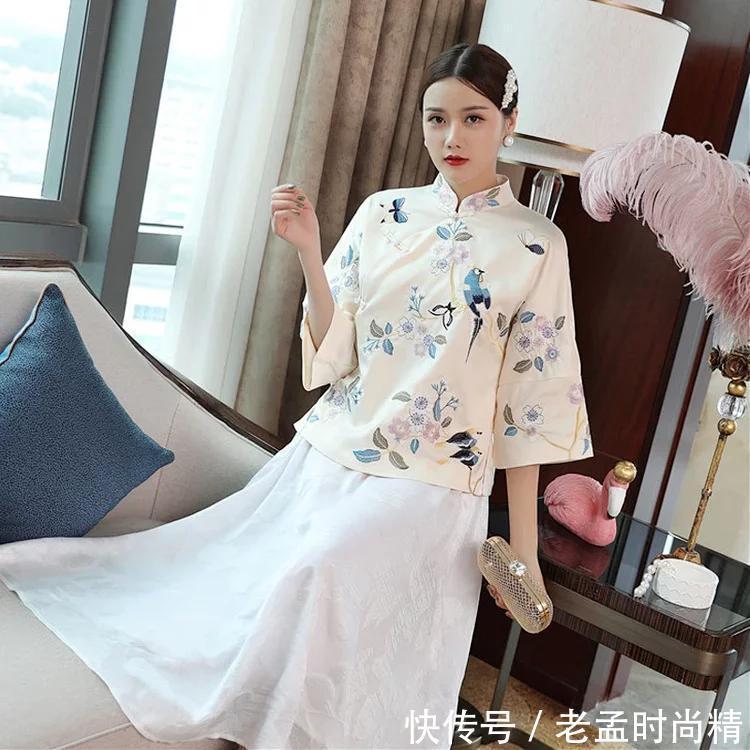 精美艺品, 复古之选, 唐装刺绣旗袍上衣!