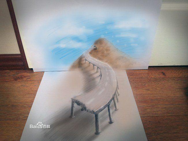3d铅笔画与3d地画的表现方法,以及绘画原理,透视关系都相同,唯一不同的只是其绘制的材料,画面载体,以及画幅的大小不同而已。 3d地画可以用丙烯,油彩,粉笔,蜡笔,油漆等材料来绘制,而3d铅笔画主要是以铅笔,或者彩色铅笔来绘制而成。同时3d铅笔画绘制载体一般都是画纸,而3d地画大多是绘制在地面,墙面,以及画布,木板等这些载体上。 3D铅笔画:魔方