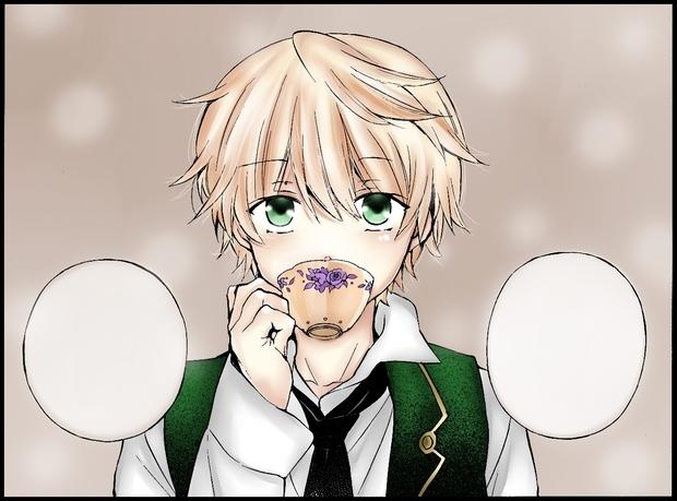 求一张简单易画的动漫男子喝茶图!最重要也要好看一!