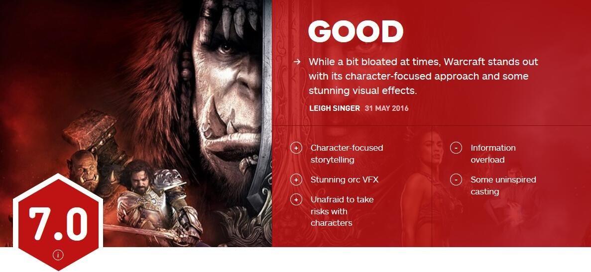 《魔兽》电影IGN评分7.0