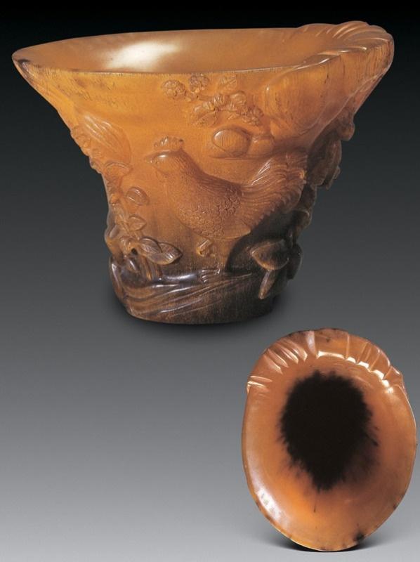 古代牛角雕刻图案