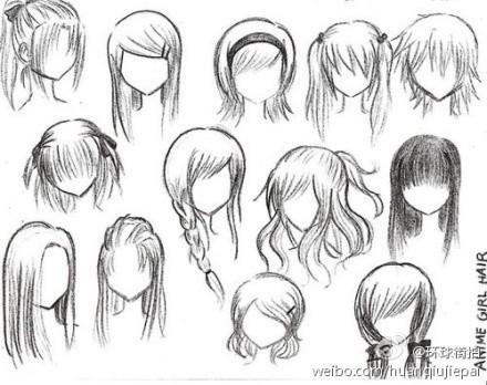 手绘漫画人物头发_发型设计