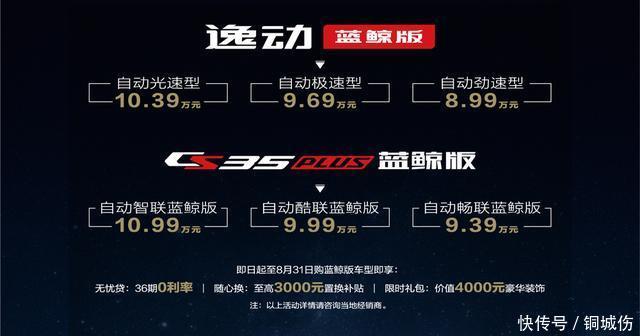 <b>低油耗家用之选,长安CS35PLUS逸动蓝鲸版上市,899万起售</b>