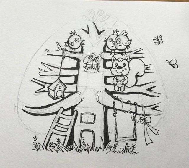简笔画教程学起来!迪猫原创春天小插画《春之树》