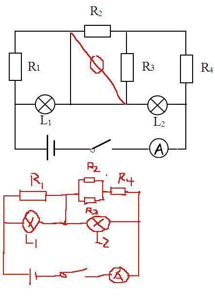 高中物理电路图问题:请问这幅电路图中,r1,r2,r3,r4,l1,l2之间是串联