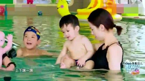 黄圣依带2个儿子游泳,安迪的反应太让人心疼!网友:生二胎请谨慎