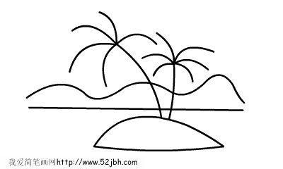 别的网上有,你就搜岛屿简笔画就行了!
