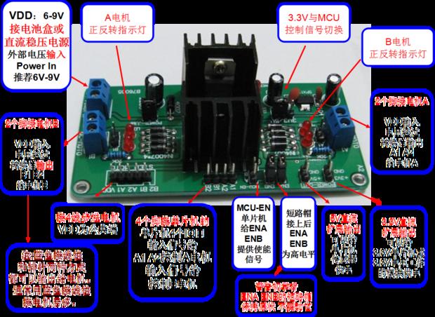 直流电机驱动模块驱动电机转动,电路如何接?