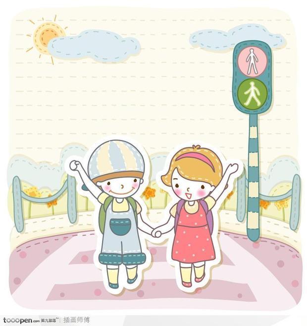求一张两个大学女孩手拉手上学的动漫图片