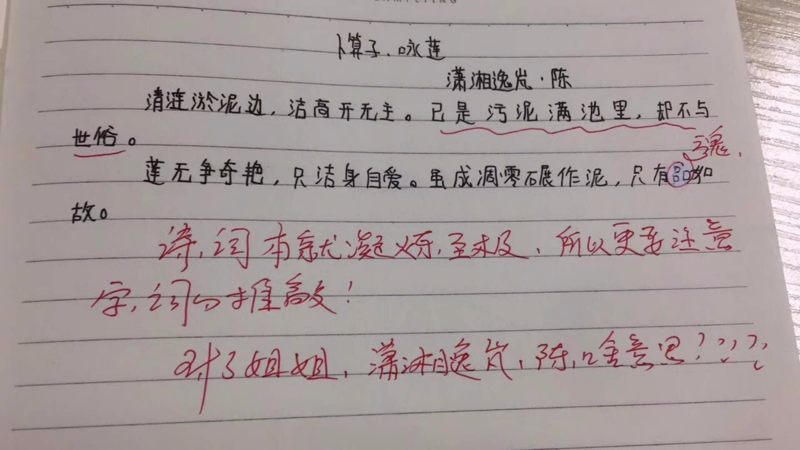 初二学生仿写宋词被指仅是填字 老师:先培养兴