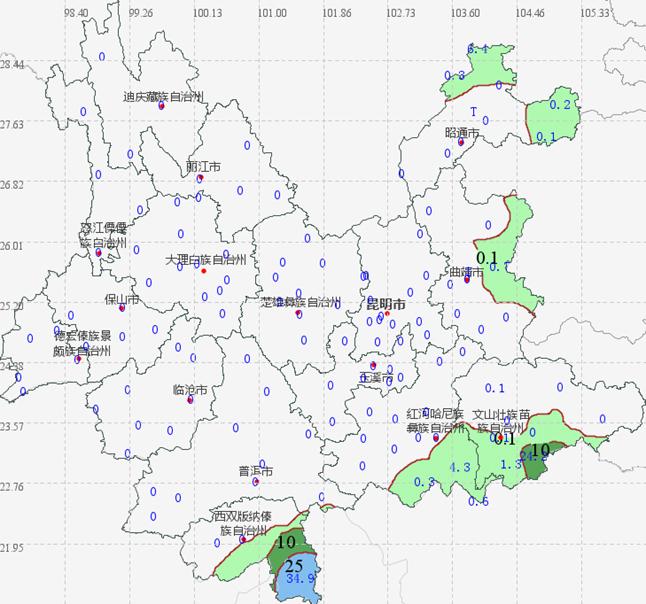 4月12日08时至13日08时云南省降雨分布图  云南省气象服务中心提供