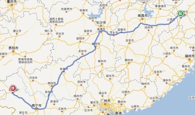 浙江江山市到广西百色市线路开车怎么走