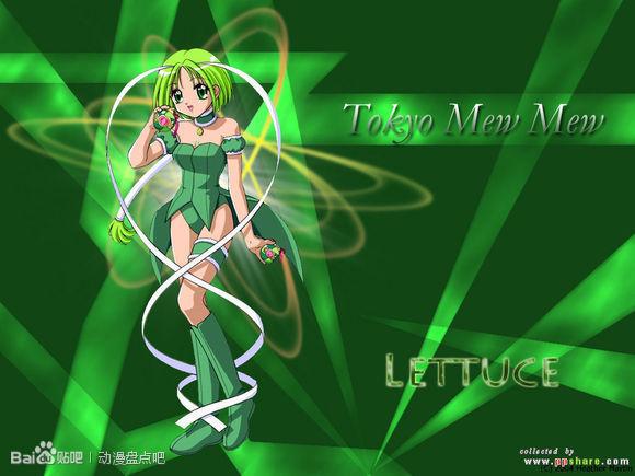 谁有一张绿发动漫女孩图,绿发绿瞳,穿白色长裙,类似婚纱,绿色背景