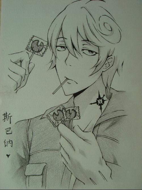 手绘男生铅笔画