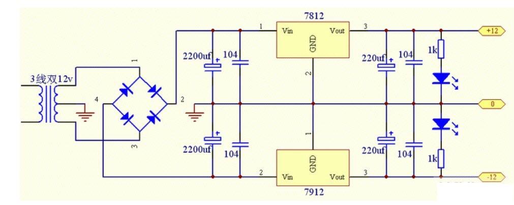 三端稳压电源电路图 稳压电源电路 线性稳压电源原理图图片