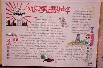 题目:勿忘国耻圆梦中华手抄报写字内容或画好的图片图片