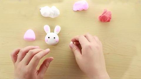 橡皮泥手工制作可爱的兔子-360视频
