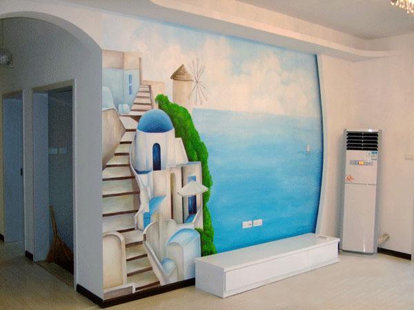 手绘欧式风格的电视背景墙图片